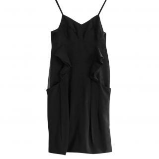 Miu Miu Black Lingerie Inspired Frilled Trim Dress