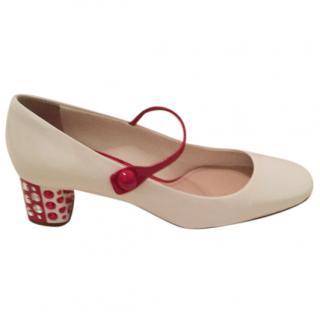 Miu Miu White & Red Crystal Heel Pumps