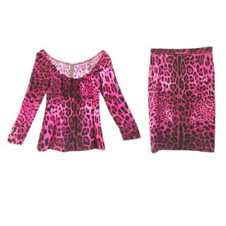 Dolce & Gabbana silk 2 piece animal print set