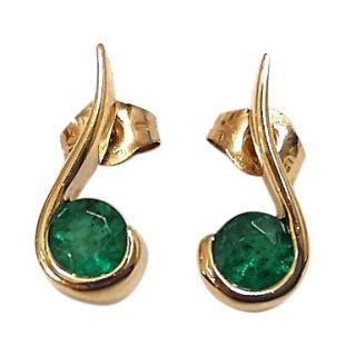 Bespoke Emerald Swirl Stud Earrings 9ct Gold