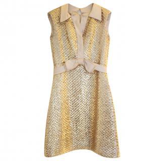 Pat Sandler Couture Embellished Silk Satin Bow Dress
