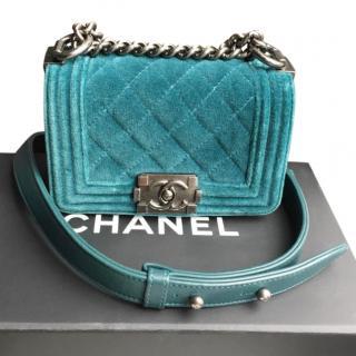 Chanel Petrol Green Mini Velvet Boy Bag