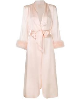 Maguy De Chadirac Peach Marabou Feather Trimmed Dressing Gown