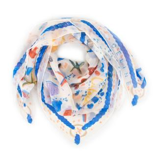 Celine Silk Watercolour Sea Themed Scarf