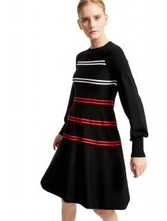 Sportmax Code A-Line Black Knit Red/White Stripe Dress SzL