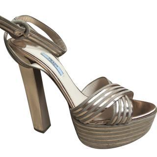 Prada Nude Metallic Stripe Platform Sandals