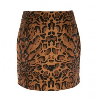 Shrimps Leopard  Print Velvet Mini Skirt