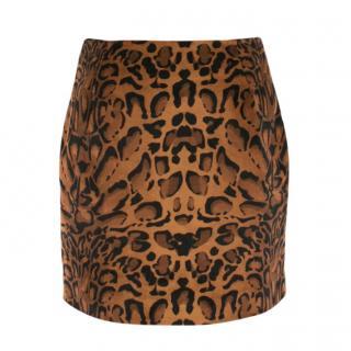 Shrimps Leopard  Print Velvet Mini Skirt