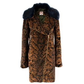 Shrimps Animal Print Velvet Fur Collared Coat