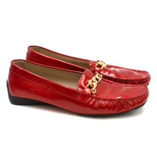 St. John Red Metallic Leather Loafers