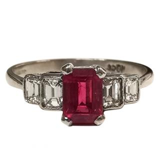Mid Century Rubellite & Diamond Ring 18ct Gold