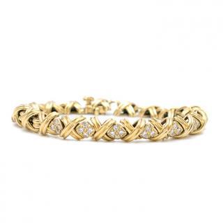 Tiffany & Co. Diamond & Gold Signature  Kiss X Link Bracelet