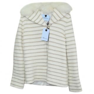 Blumarine fox fur trim hoodile jacket