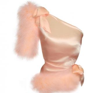 Maguy de Chadirac Blush Pink Marabou Feathered One Shoulder Pyjama Top