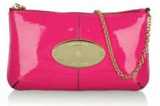 Mulberry Pink Patent Charlie Clutch Bag