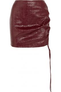 Magda Butrym Red 'Santa Maria' Woven Leather Mini Skirt.