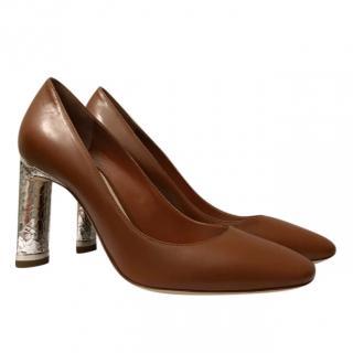 Christian Dior Silver python skin heel pumps