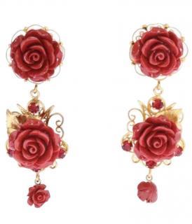 Dolce & Gabbana Red Rose drop earrings