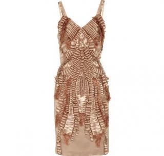 Alberta Ferretti embellished metallic dress