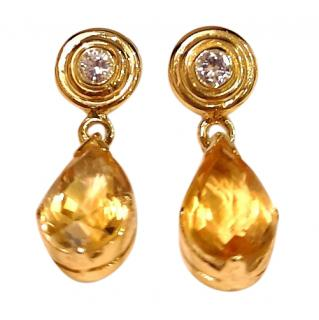Bespoke Citrine & Diamond Drop Earrings 18ct Gold