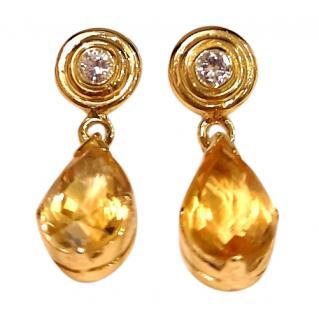 Bespoke Citrine & Diamond Drop Earrings 18ct Gold