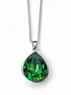 Elements Silver Dark Green Swarovski Necklace