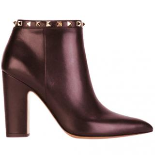 Valentino rockstud burgundy calf leather ankle boots new