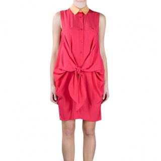 Carven Tie-Front Sleeveless Shirt Dress