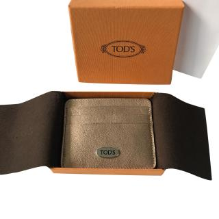Tod's metallic leather card holder