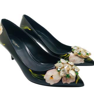 Dolce & Gabbana Tulips Print Tairmina crystal pumps
