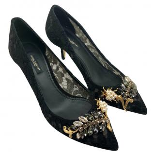 Dolce & Gabbana Taormina lace crystals & bugs pumps.
