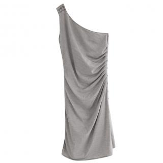 Azzaro Voyage Grey Wool Silver & Button Trim Dress