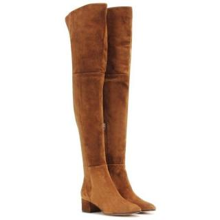 Gianvitto Rossi tan suede over the knee boots