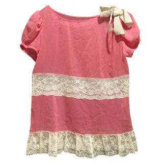 Red Valentino pink lace trim top