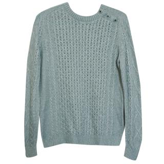 Tory Burch Wool Cashmere Rabbit Hair Cable Knit Jumper