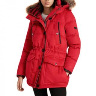 Burberry Fox Fur Cashmere winter jacket with down parade red