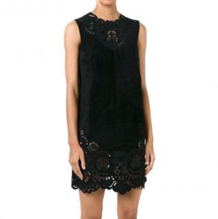 Dolce & Gabbana black suede shift tunic dress