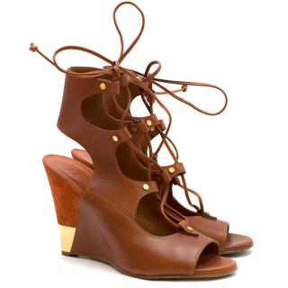 Chloe Brown Leather Lace-up Wedge Sandals