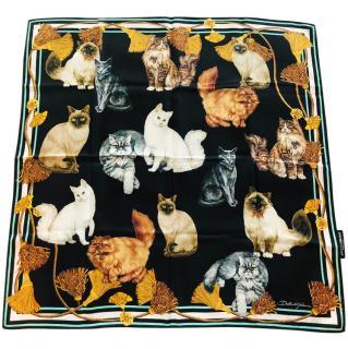 Dolce & Gabbana cats print silk scarf