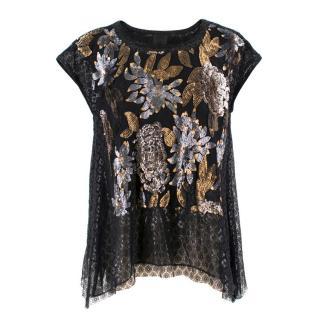 Anna Sui Black Sequin Floral Top