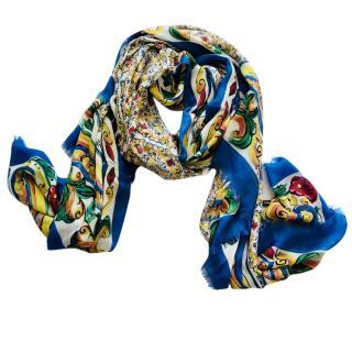Dolce & Gabbana majolica print cashmere blend scarf