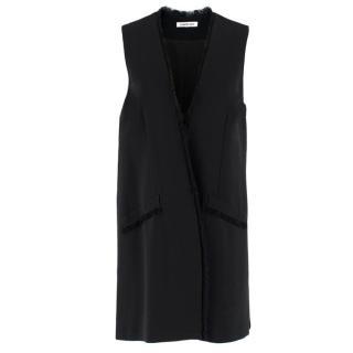 Elizabeth & James Black Eyelash Trim Lightweight Sleeveless Coat