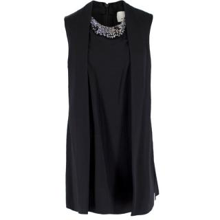 Phillip Lim Black Silk Beaded Neckline Sleeveless Top