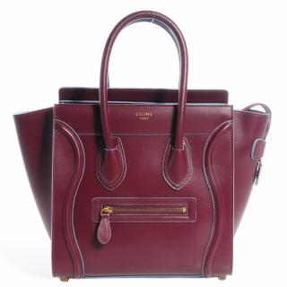 Celine burgundy & baby blue luggage tote