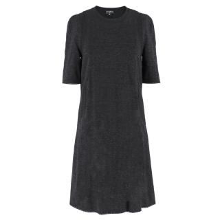 Chanel Black Knit Crochet Trim Dress