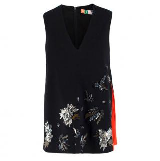 MSGM Sleeveless Black Embellished Top