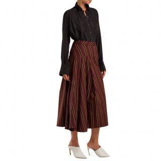 Palmer//Harding Striped Cotton-blend Twill Midi Skirt