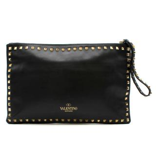 Valentino Rockstud Black Leather Clutch
