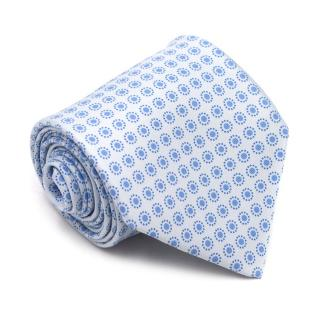 Hermes Blue Spotted Printed Silk Tie