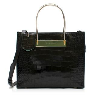 Balenciaga Black Crocodile Small Cable Bag